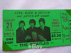 BEATLES 1966 Original CONCERT Ticket STUB St. Louis, MO