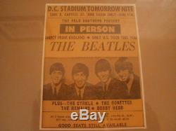 BEATLES 1966 Original D. C Stadium CONCERT Ticket STUB & Newspaper Ad