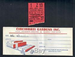 BEATLES ORIGINAL 1964 CINCINNATI GARDENS CONCERT TICKET STUB + TICKET ENVELOPE