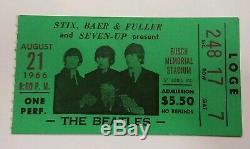 BEATLES ORIGINAL 1966BUSCH MEMORIAL STADIUM IN ST LOUIS Concert Ticket Stub