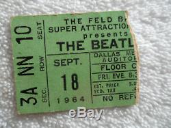 BEATLES Original 1964 CONCERT TICKET STUB Dallas, TX