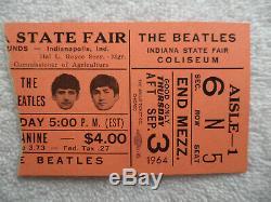BEATLES Original 1964 CONCERT TICKET STUB Indianapolis NM