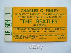 BEATLES Original 1964 CONCERT TICKET STUB Kansas City, MO EX(+)