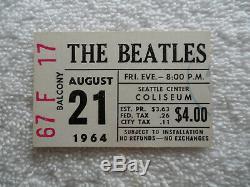 BEATLES Original 1964 CONCERT TICKET STUB Seattle EX+