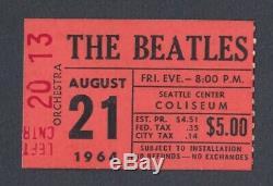 BEATLES Original 1964 CONCERT TICKET STUB Seattle Orange