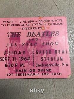 BEATLES Original 1964 CONCERT TICKET Stub Jacksonville, Fl-RARE. WithJax Articles