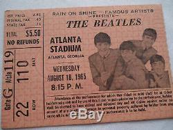 BEATLES Original 1965 CONCERT Ticket STUB Atlanta Stadium