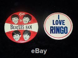 BEATLES Original 1965 Shea Stadium Concert Ticket Stub, Program & 2 Pins