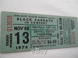 BLACK SABBATH 1976 Original UNUSED CONCERT TICKET Seattle, WA