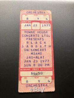 BLACK SABBATH OZZY UNUSED Concert Ticket Stub January 23, 1977 MIAMI FLORIDA FL