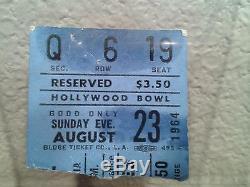 Beatles 1964-1965 Concert Ticket Stubs/Program Hollywood Bowl Vintage