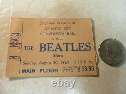 Beatles 1964 Concert Ticket Stub Atlantic City Convention Hall 8/30/64 Lennon
