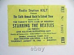 Beatles 1965 HOUSTON TX -SAM HOUSTON COLISEUM -CONCERT TICKET STUB Ex condition