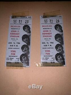 Beatles 1966 JFK Stadium Philadelphia Concert Pair Ticket of Stubs