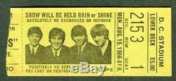 Beatles 1966 Washington DC Stadium Concert Ticket Stub, Large Yellow