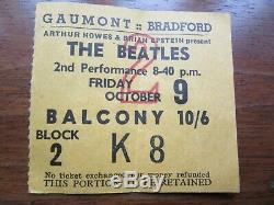 Beatles Concert Ticket Stub Bradford October 9 1964 John Lennon 24th Birthday