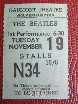 Beatles Concert Ticket Stub Gaumont Theatre Wolverhampton Tues 19th Nov (1963)