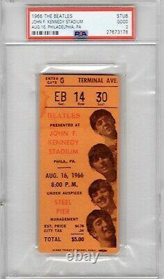Beatles Concert Ticket Stub J. F. K. Stadium Aug. 16,1966 PSA GOOD Authentic