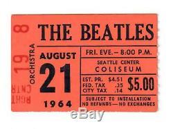 Beatles Concert Ticket Stub Seattle Coliseum Usher Portion Of Stub Nm