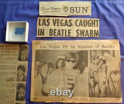 Beatles Original very RARE Concert Ticket Stub lot Las Vegas news articles 1964