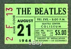 Beatles Seattle Center Coliseum Concert Ticket Stub 1964 Green Scarce