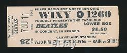 Beatles ULTRA RARE CONCERT TICKET STUB FOR THEIR 1966 CLEVELAND STADIUM CONCERT