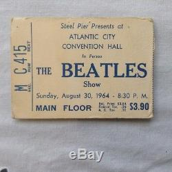 Beatles concert ticket stub from Atlantic City Convention Hall 1964