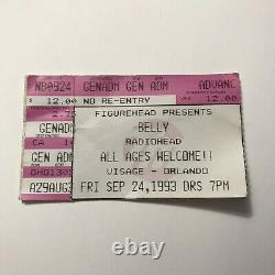 Belly RADIOHEAD Visage Orlando FL Concert Ticket Stub Vintage September 1993