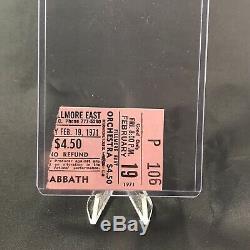 Black Sabbath Fillmore East Philadelphia PA Concert Ticket Stub February 19 1971