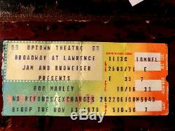 Bob Marley The Wailers 1979 Concert Ticket Stub, final Chicago show-last one
