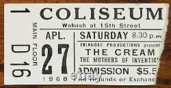 CREAM (Band)-Ginger Baker-1968 RARE Concert Ticket Stub (Chicago Coliseum)