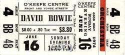 DAVID BOWIE 1974 Diamond Dogs CONCERT TICKET STUB Toronto