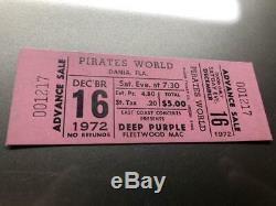 DEEP PURPLE FLEETWOOD MAC UNUSED Concert Ticket Stub December 16, 1972 FLORIDA