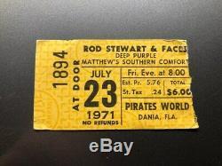 DEEP PURPLE ROD STEWART Concert Ticket Stub July 23, 1971 DANIA MIAMI FLORIDA