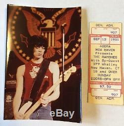 Dee dee ramone-the ramones-autographed concert ticket stub