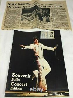 ELVIS PRESLEY Last Concert TICKET STUB 1977 Indianapolis with Program, Photo +