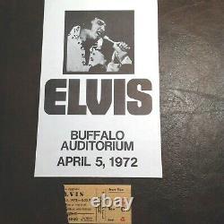 Elvis 4-05-1972 Buffalo Ny 8 X 5 Flyer Mint Rare & Ticket Stub From Concert