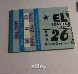 Elvis Concert Ticket Stub April 1976 Seattle Washington