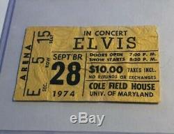 Elvis Concert Ticket Stub College Park 1974