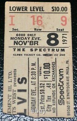 Elvis Concert Ticket Stub The Spectrum Philadelphia November 8 1971