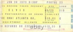 Elvis Presley 1973 Tour The Omni Coliseum / Atlanta Concert Ticket Stub