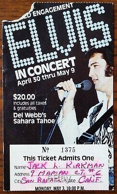 Elvis Presley-1976 RARE Concert Ticket Stub (Lake Tahoe-Sahara Tahoe Hotel)
