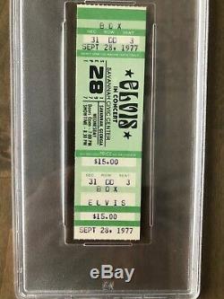 Elvis Presley 9/28/77 Savannah, GA Concert Ticket Stub Posthumous PSA Mint 9
