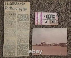 Elvis Presley June 3, 1976 Concert Ticket Stub, Photos and News Article