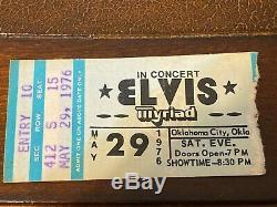 Elvis Ticket Stub May 29 1976 Oklahoma City, Oklahoma Very Good++ Concert