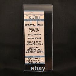 Fall Out Boy Club Cali Hollister Members Only Concert Ticket Stub Vintage 2004