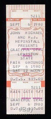 GRATEFUL DEAD Concert Ticket Stub 9-6-1980 ROY BUCHANAN LEVON HELM Maine RARE