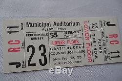 GRATEFUL DEAD Original CONCERT Ticket STUB San Antonio, TX