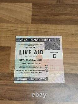 Genuine Rare Live Aid Ticket Stub From1985 Concert at Wembley with Queen, U2