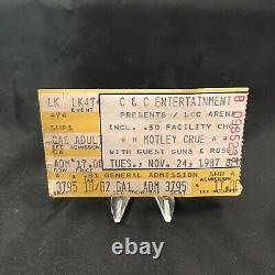 Guns N Roses Motley Crue LCC Arena Concert Ticket Stub Vintage November 1987